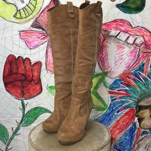 Tan Knee High Boots with Heel Size 8 Faux Leather